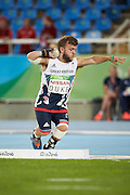 Kyron Duke of Great britain in the the Men's Shot Put - F41 at the Olympic Stadium. On day 1 of the Rio 2016 Paralympic Games. Thursday 8th September 2016