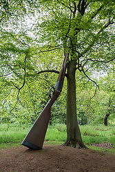 outdoor sculpture Landscape With Gun and Hill by Cornelia Hill at Jupiter Artland outside Edinburgh , Scotland , United Kingdom; editorial use only