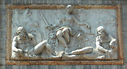 Justice depicted on a decorative relief on the base of the Campanile in St Mark's Square, Venice, Italy.