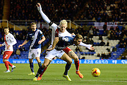 Birmingham City defender Michael Morrison and Charlton Athletic striker Simon Makienok tussle during the Sky Bet Championship match between Birmingham City and Charlton Athletic at St Andrews, Birmingham, England on 21 November 2015. Photo by Alan Franklin.
