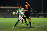 Yeovil Town's Jakub Sokolik and Yeovil Town's Max Melanson during the The FA Cup Third Round Replay match between Yeovil Town and Carlisle United at Huish Park, Yeovil, England on 19 January 2016. Photo by Graham Hunt.