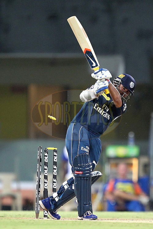 P. Patel bold by A. Morkel during match 46 of the the Indian Premier League ( IPL) 2012  between The Chennai Superkings and the Deccan Chargers held at the M. A. Chidambaram Stadium, Chennai on the 4th May 2012..Photo by Prashant Bhoot/IPL/SPORTZPICS