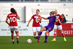 Lucy Graham of Bristol City competes against Laura Coombs of Liverpool Women - Mandatory by-line: Paul Knight/JMP - 17/11/2018 - FOOTBALL - Stoke Gifford Stadium - Bristol, England - Bristol City Women v Liverpool Women - FA Women's Super League 1