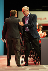 © Licensed to London News Pictures . 28/09/2015 . Brighton , UK . JEREMY CORBYN shakes MARIA EAGLE 's hand after Eagle spoke at the 2015 Labour Party Conference . Photo credit : Joel Goodman/LNP