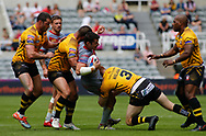 Kris Welham of Salford Red Devils tackles Benjamin GARCIA of Catalans Dragons during the Betfred Super League match at the Dacia Magic Weekend, St. James's Park, Newcastle<br /> Picture by Stephen Gaunt/Focus Images Ltd +447904 833202<br /> 20/05/2018
