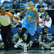 Chicago Sky Forward ElENA DELLE DONNE (11) dribbles the ball up court in the second quarter of an WNBA regular season basketball game between the Chicago Sky  and the Washington Mystics Wednesday, July. 24, 2013 at The Verizon center in Washington DC.