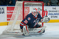 KELOWNA, CANADA - JANUARY 27: Connor Ingram #39 of the Kamloops Blazers defends the net against the Kelowna Rockets on January 27, 2017 at Prospera Place in Kelowna, British Columbia, Canada.  (Photo by Marissa Baecker/Shoot the Breeze)  *** Local Caption ***