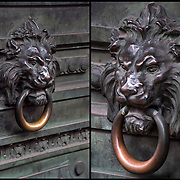 Sculptures of lion heads  are among the most popular decorative adornments of buildings.<br /> <br /> The  iconic emblem of the majestic lion head that adorns front doors and other decorative elements, both interior and exterior. Not only does this emblem carry a sense of aristocratic grandeur but a timeless appeal. <br /> <br /> Lions have long been a symbol of royalty and nobility, an image many of the newly minted American upper class was eager to adopt. But the expressions on the lion's faces say a lot. &quot;If they are roaring, they are seen as a symbol of power, prestige, or courage,&quot;