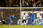 San Jose Earthquakes defender Clarence Goodson (44) celebrates a goal in the second half of the game at Buck Shaw Stadium in Santa Clara, California, on September 17, 2013.  The San Jose Earthquakes beat Montreal Impact 3-0. (Stan Olszewski/QMI Agency)