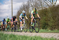 Rachele Barbieri and Liisi Rist across the cobbles - Grand Prix de Dottignies 2016. A 117km road race starting and finishing in Dottignies, Belgium on April 4th 2016.