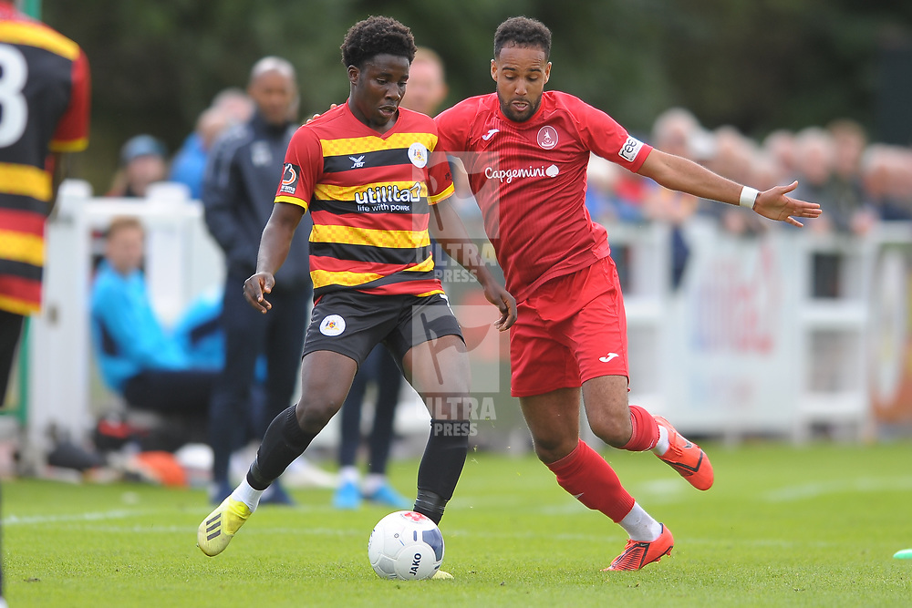 TELFORD COPYRIGHT MIKE SHERIDAN Brendon Daniels of Telford during the National League North fixture between Bradford Park Avenue and AFC Telford United at the Horsfall Stadium on Saturday, August 31, 2019<br /> <br /> Picture credit: Mike Sheridan<br /> <br /> MS201920-014