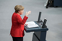 21 MAR 2019, BERLIN/GERMANY:<br /> Angela Merkel, CDU Bundeskanzlerin, waehrend einer  Regierungserklaerung zum Europaeischen Rat, Plenum, Deutscher Bundestag<br /> IMAGE: 20190321-01-044