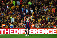 BARCELONA, SPAIN - MAY 30: Lionel Messi of Barcelona celebrates after scoring during the King's Cup Final game between Athletic Club de Bilbao and FC Barcelona at Camp Nou stadium on May 30, 2015 in Barcelona, Spain. (Photo by Manuel Queimadelos)