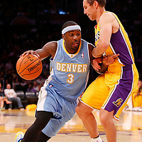 06 October 2013: Denver Nuggets point guard Ty Lawson (3) drives past Los Angeles Lakers point guard Steve Nash (10) during the Denver Nuggets 97-88 victory over the Los Angeles Lakers at the Staples Center, Los Angeles, California, USA.