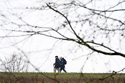 © Licensed to London News Pictures. 01/03/2019. Eynsford, Walkers out enjoying the countryside. A dull grey day today in Kent as the recent sunny weather is replace with cloud and mist.Photo credit: Grant Falvey/LNP