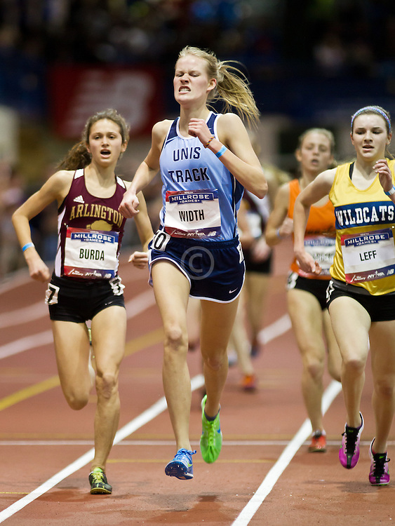 Millrose Games indoor track and field: high school girl's Mile, Burda, Width, Leff