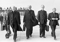 Some pilgrim priests at Knock Airport for the inaugural flight to Rome 25 October 1985.<br /> (Part of the Independent Newspapers Ireland/NLI Collection)