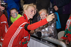 NEWPORT, WALES - Thursday, April 4, 2019: Wales' Sophie Ingle takes a selfie for supporters after an International Friendly match between Wales and Czech Republic at Rodney Parade. The game ended in a 0-0 draw. (Pic by David Rawcliffe/Propaganda)