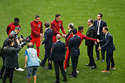 Emmanuel Macron, president de la Republique francaise and Angel Di Maria (psg), Noel Le Graet, president de la federation francaise de football and Edinson Roberto Paulo Cavani Gomez (psg) (El Matador) (El Botija) (Florestan), Thiago Silva (PSG) and Jean-Pierre Papin, Unai Emery (PSG), Said Chabane, president du SCO Angers, Nasser Al-Khelaifi (psg), Serge Aurier (psg) during the 100th French Cup, Final football match between SCO Angers and Paris Saint-Germain on May 27, 2017 at Stade de France in Saint-Denis, France - Photo Stephane Allaman / ProSportsImages / DPPI