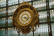 FRANCE, PARIS, CITY CENTER Musee d'Orsay, houses works of the Impressionists, ornate clock remains from when the Gare d'Orsay was RR station