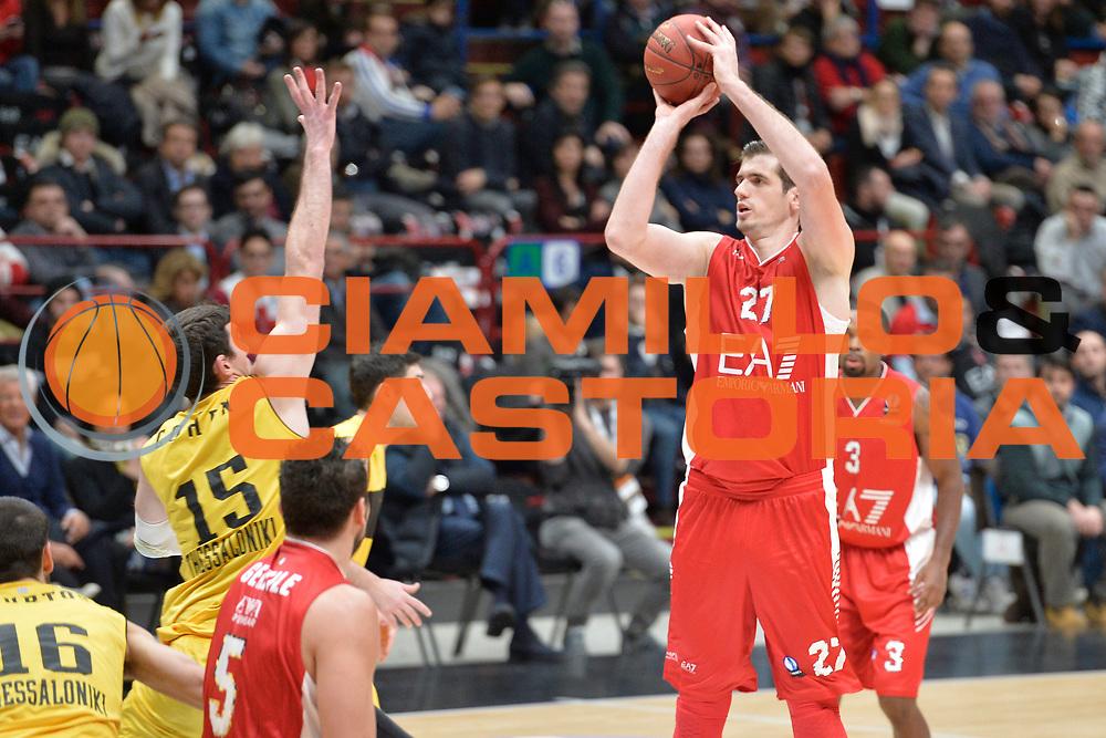 DESCRIZIONE : Milano 2016 Olimpia EA7 Emporio Armani Milano-Aris Salonicco<br /> GIOCATORE : Stanko Barac<br /> CATEGORIA : Tiro<br /> SQUADRA : Olimpia EA7 Emporio Armani Milano<br /> EVENTO : Eurocup 2015-2016<br /> GARA : Olimpia EA7 Emporio Armani Milano-Aris Salonicco<br /> DATA : 12/01/2016<br /> SPORT : Pallacanestro <br /> AUTORE : Agenzia Ciamillo-Castoria/I.Mancini<br /> Galleria :Eurocup 2015-2016  <br /> Fotonotizia : Milano Eurocup 2015-16 Olimpia EA7 Emporio Armani Milano Airis Salonicco<br /> Predefinita :