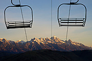 Chairlifts and Grand Teton Range - Jackson - Wyoming - USA