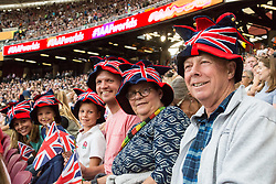 London, August 13 2017 . Team GB supporters, the Cornhill family on day ten of the IAAF London 2017 world Championships at the London Stadium. © Paul Davey.