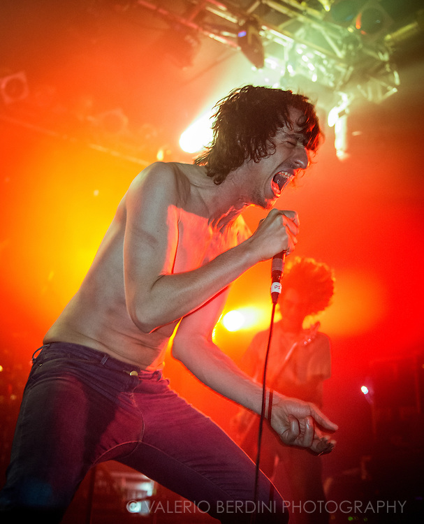 Lias Saoudi singer with the Fat White Family live at the Electric Ballroom in Camden Town, London on 18 september 2014