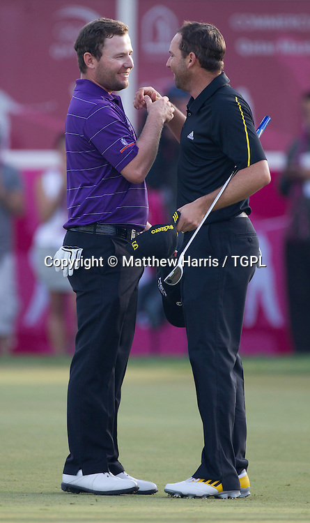 Branden GRACE (RSA) and Sergio GARCIA (ESP) during fourth round,Commercial Bank Qatar Masters 2013,Doha GC,Doha,Qatar,26th January 2013.