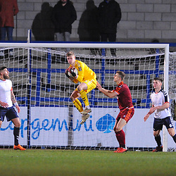 TELFORD COPYRIGHT MIKE SHERIDAN 5/1/2019 - Josef Buisik(on loan from Stoke City) of AFC Telford claims a cross during the Vanarama Conference North fixture between AFC Telford United and Spennymoor Town.