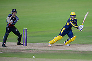 Lewis McManus of Hampshire and Ryan Davies of Somerset during the Royal London One Day Cup match between Hampshire County Cricket Club and Somerset County Cricket Club at the Ageas Bowl, Southampton, United Kingdom on 2 August 2016. Photo by David Vokes.