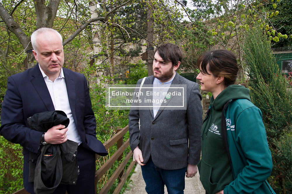 Pictured: Mark Ruskell, Dan Heal, Sarah Campbell, Development and fundraising manager <br /> Scottish Greens on local election campaign trail. Mark Ruskell MSP, the party's environment spokesperson, joined candidate for the Sighthill/Gorgie ward Dan Heap on a visit to Gorgie city farm. The pair met Chief executive of the farm, Josiah Lockhart and Development and fundraising manager, Sarah Campbell during their tour.<br /> <br /> <br /> Ger Harley | EEm 19 April 2017