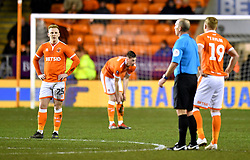 Blackpool players appear dejected during the Emirates FA Cup, third round match at Bloomfield Road, Blackpool.