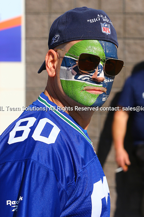 01 FEB 2015:  Seattle seahawks Fans outside University of Phoenix Stadium in Glendale Arizona prior to Super Bowl XLIX, The game is between the Seattle Seahawks and the New England Patriots.