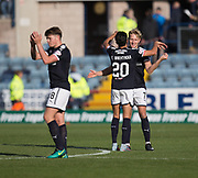 16th September 2017, Dens Park, Dundee, Scotland; Scottish Premier League football, Dundee versus St Johnstone; Dundee's A-Jay Leitch-Smith, who scored twice in Dundee's.win over St Johnstone, celebrates with Faissal El Bakhtaoui at full time