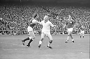 Galway attempts to run past Cork during the All Ireland Senior Gaelic Football Championship Final Cork v Galway in Croke Park on the 23rd September 1973. Cork 3-17 Galway 2-13.