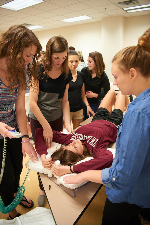 Activity; Collaboration; Buildings; Health Science Center; Location; Inside; Classroom; People; Student Students; Spring; April; Time/Weather; day; Type of Photography; Candid; UWL UW-L UW-La Crosse University of Wisconsin-La Crosse; Radiation Therapy Class Amanda Carpenter