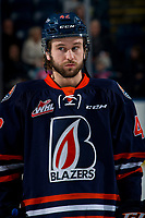KELOWNA, BC - FEBRUARY 23: Kobe Mohr #42 of the Kamloops Blazers lines up against the Kelowna Rockets at Prospera Place on February 23, 2019 in Kelowna, Canada. (Photo by Marissa Baecker/Getty Images)
