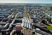 Nederland, Noord-Holland, Amsterdam, 27-09-2015; Amsterdam Zuidoost, Station Amsterdam Bijlmer Arena. Arena Boulevard en Hoekenrodeplein, bij Amsterdamse Poort, links van het Station. Foro richting Utrecht.<br /> Railway Station Amsterdam Bijlmer Arena, near football stadion Arena of Ajax.<br /> luchtfoto (toeslag op standard tarieven);<br /> aerial photo (additional fee required);<br /> copyright foto/photo Siebe Swart