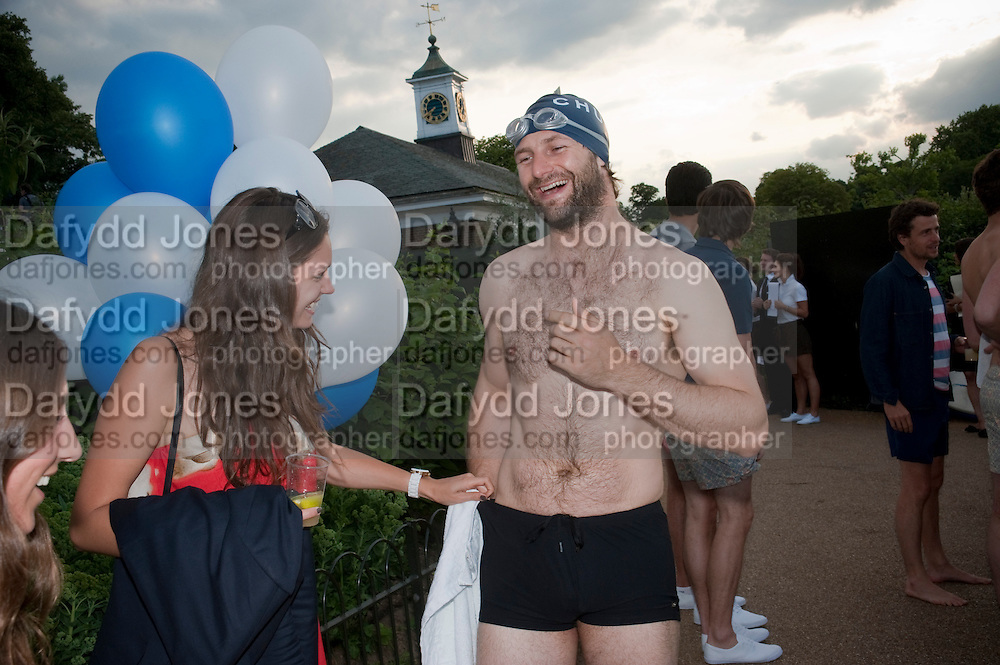 Anastasia Grawe ; Charlie Roberts, Chucs Dive & Mountain Shop charity Swim Party: Lido at The Serpentine. London. 4 July 2011. <br /> <br />  , -DO NOT ARCHIVE-© Copyright Photograph by Dafydd Jones. 248 Clapham Rd. London SW9 0PZ. Tel 0207 820 0771. www.dafjones.com.