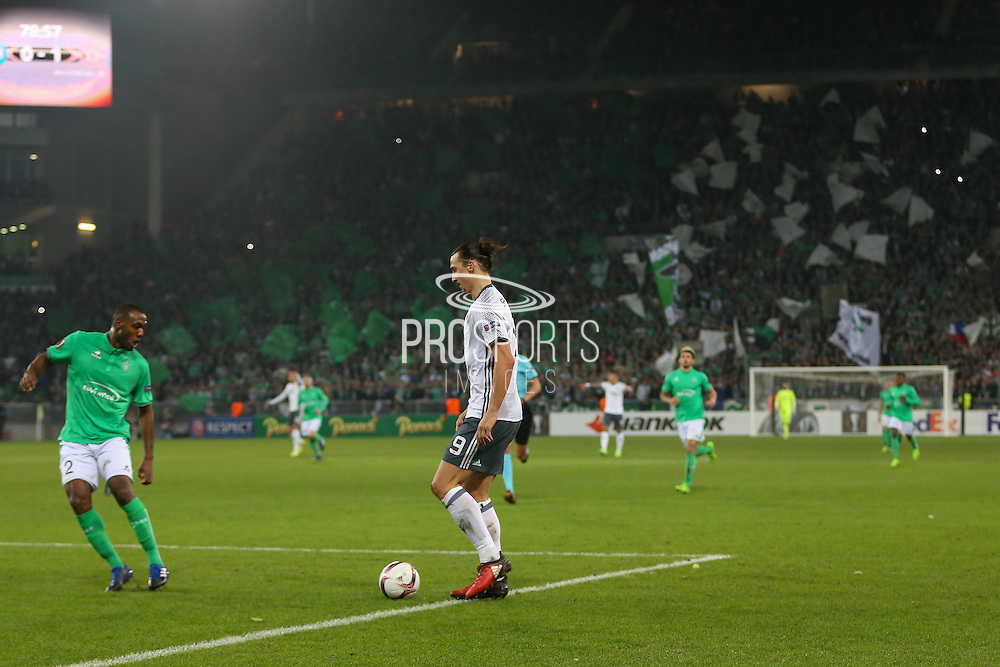 Zlatan Ibrahimovic Forward of Manchester United on the ball with Saint-Etienne flags in background during the Europa League match between Saint-Etienne and Manchester United at Stade Geoffroy Guichard, Saint-Etienne, France on 22 February 2017. Photo by Phil Duncan.