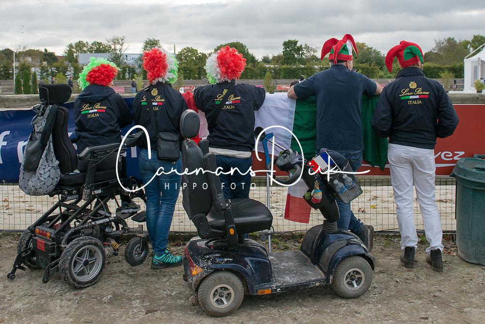 Italian supporters<br /> Grade III Team Test<br /> Para-Dressage FEI European Championships Deauville 2015<br /> &copy; Hippo Foto - Jon Stroud<br /> 18/09/15