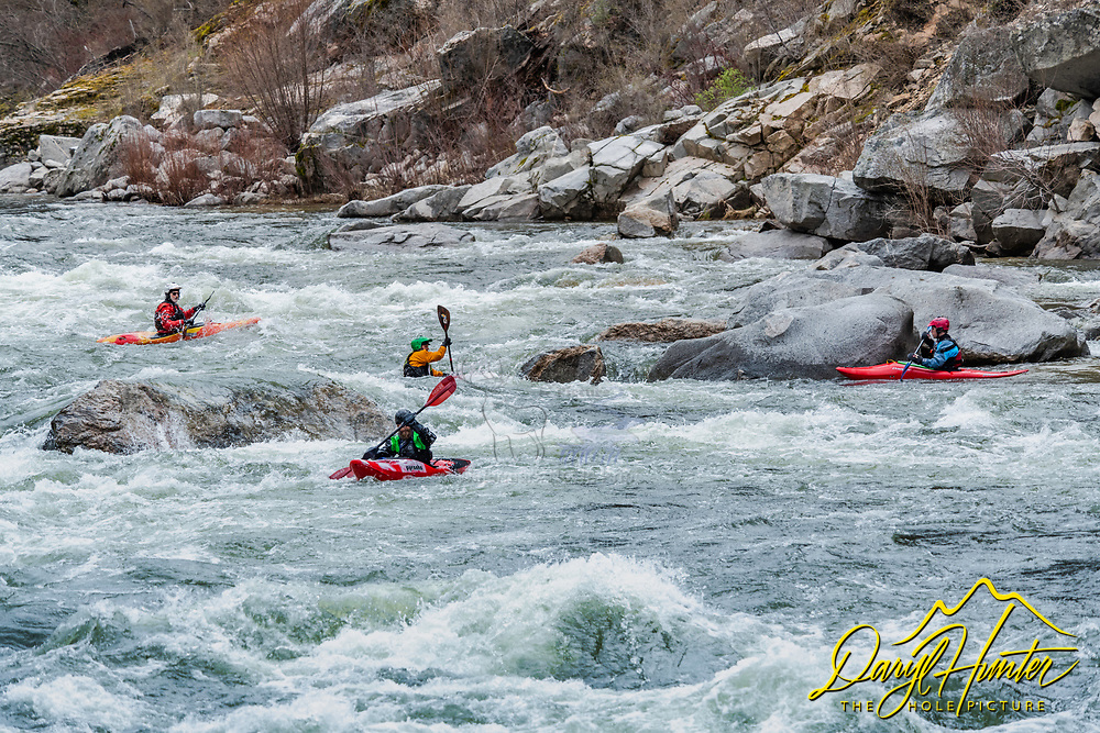 Kyakers out for a bit of fun on the South Fork of the Payette River north of Boise Idaho