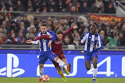 February 12, 2019 - Roma, Roma, Italia - Foto Luciano Rossi/AS Roma/ LaPresse.12/02/2019 Roma (Italia).Sport Calcio.AS Roma - Porto  .Uefa Champions League 2018 2019 - Stadio Olimpico di Roma.Nella foto: Nicolò Zaniolo, Alex Telles..Photo  Luciano Rossi/AS Roma/ LaPresse.12/02/2019 Roma (Italia).Sport Soccer.AS Roma - Porto   .Uefa Champions League 2018 2019 - Olimpic Stadium of Roma (Italy).In the pic: Nicolò Zaniolo, Alex Telles (Credit Image: © Luciano Rossi/Lapresse via ZUMA Press)