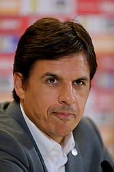DUBLIN, REPUBLIC OF IRELAND - Thursday, March 23, 2017: Wales' manager Chris Coleman during a press conference at the Aviva Stadium ahead of the 2018 FIFA World Cup Qualifying Group D match against Republic of Ireland. (Pic by David Rawcliffe/Propaganda)