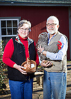 """Mary and Tom Dillard with their chickens that they raise behind their house in Farmington, Arkansas..Shot for Arkansas Life..The Rooster's name is """"Myles Standish Dillard"""" and he is a Barred Plymouth Rock which is a very old breed from the US"""