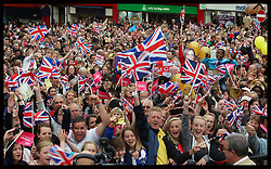 London 2012 Olympic Heptathlon Gold medalist Jessica Ennis with the Union Jack and Yorkshire flag as she welcomed back by thousands of fans at her home town of Sheffield, Friday, 17th August 2012. Photo by: Stephen Lock / i-Images<br /> <br /> File photo - Jessica Ennis Pregnant<br /> <br /> Team GB gold medallist Jessica Ennis announces this morning Friday 10th January 2014 via her Facebook fan page that she is pregnant. Photo filed Friday, 10th January 2014