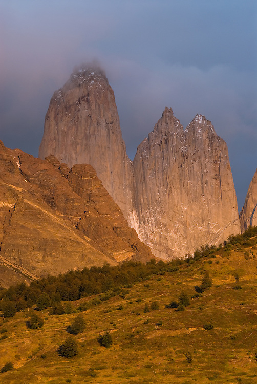 The granite spires of the Torres Del Paine, Torres Del Paine National Park, Patagonia, Chile.