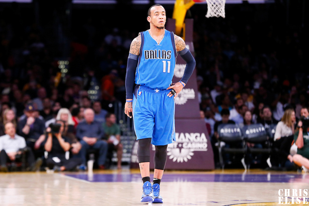 12 April 2014: Dallas Mavericks guard Monta Ellis (11) rests during the Dallas Mavericks 120-106 victory over the Los Angeles Lakers, at the Staples Center, Los Angeles, California, USA.