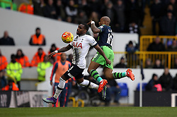 Danny Rose of Tottenham Hotspur controls the ball under pressure from Andre Ayew of Swansea City  - Mandatory byline: Robbie Stephenson/JMP - 28/02/2016 - FOOTBALL - White Hart Lane - Tottenham, England - Tottenham Hotspur v Swansea City - Barclays Premier League